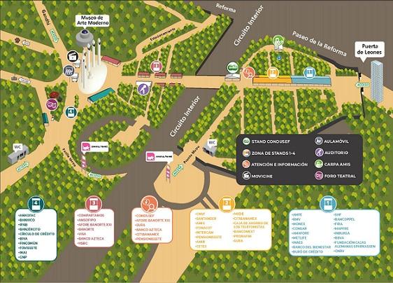 mapa semana Nal de Edufin CDMX 2019