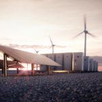 Fotografía de aerogeneradores y placas solares BBVA