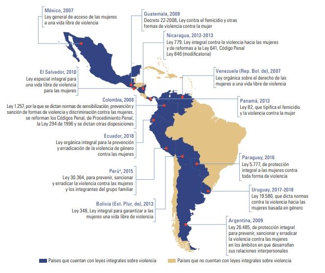 Mapa leyes sobre violencia de género en América Latina