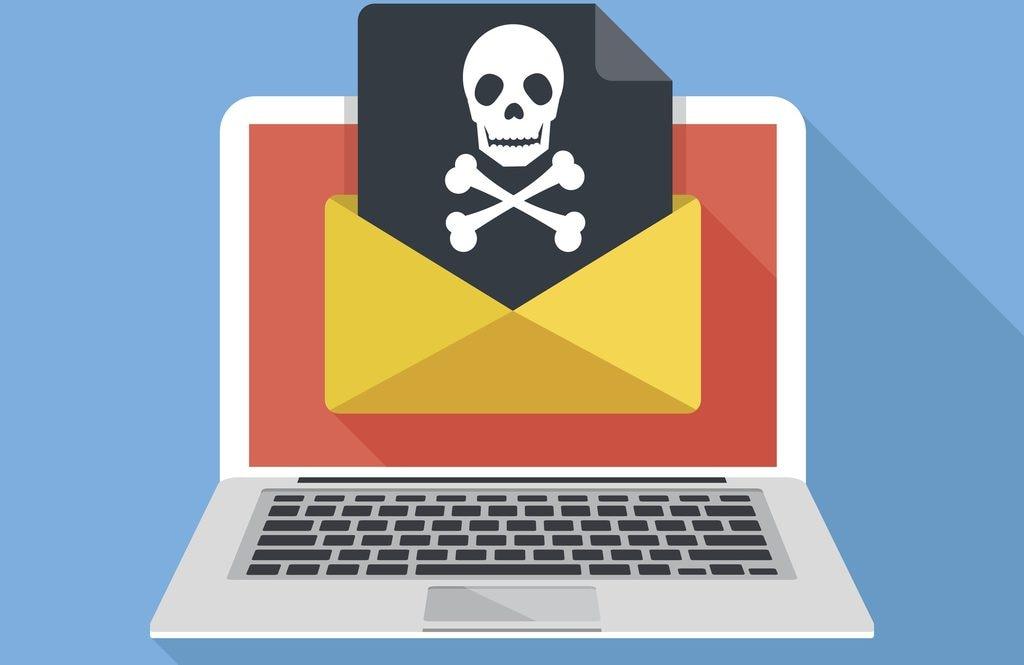 Laptop, envelope, document, skull icon. Virus, malware, email fraud