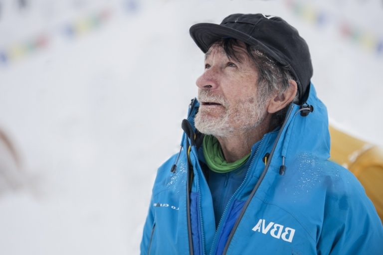 Photograph of Carlos Soria at Base camp