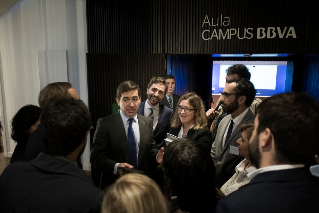 Picture Carlos Torres Vila, BBVA's CEO, and Ignacio Jiménez Soler, Communications Strategy, at Aula CAMPUS BBVA in the presentation of 3Q15 Results