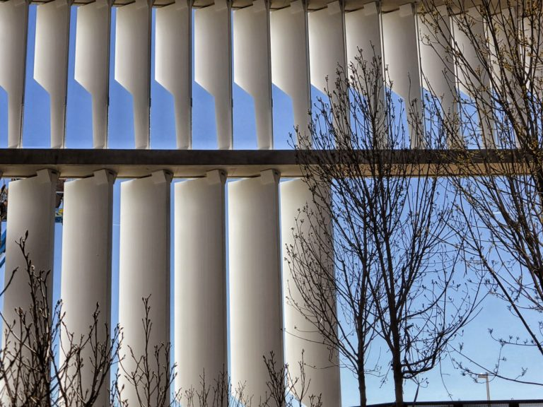 Picture of the façade slats of Ciudad BBVA ©Carlos Benítez-Donoso