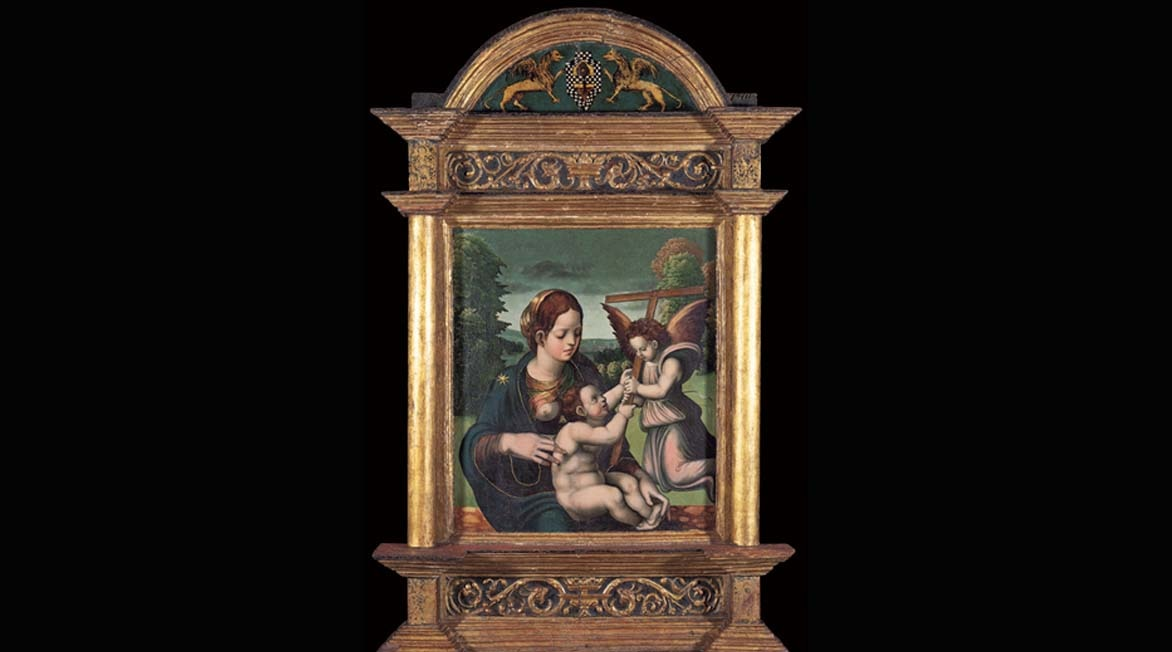 The Virgin and Child Jesus with Angel of Juan de Soreda from BBVA Collection