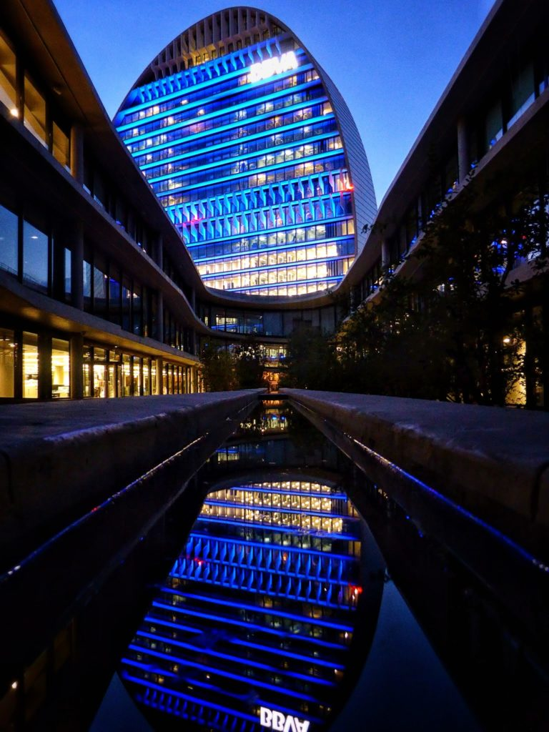 Picture of a nightview of Ciudad BBVA