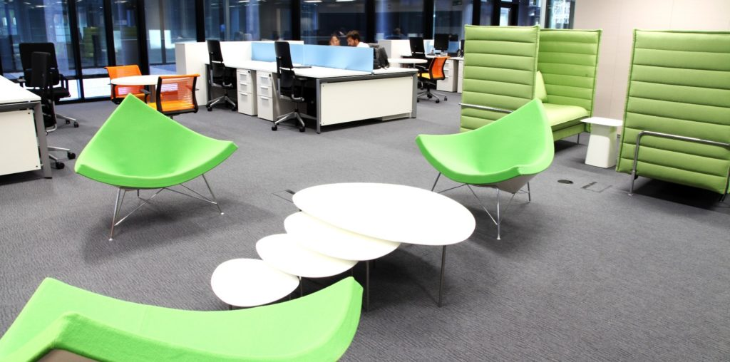 Picture of the open space offices in Ciudad BBVA