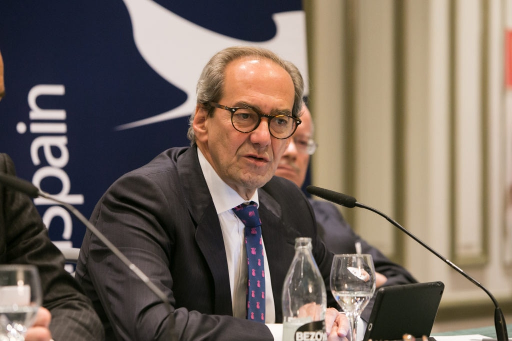 José Manuel González-Páramo during his address in the TTIP round table organized the U.S. Chamber of Commerce in Spain.