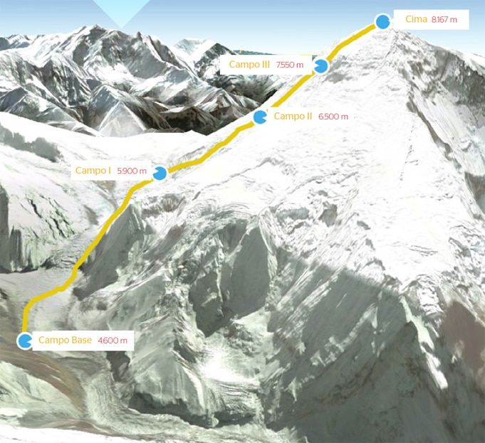 Map of the Dhaulagiri BBVA Expedition with Carlos Soria