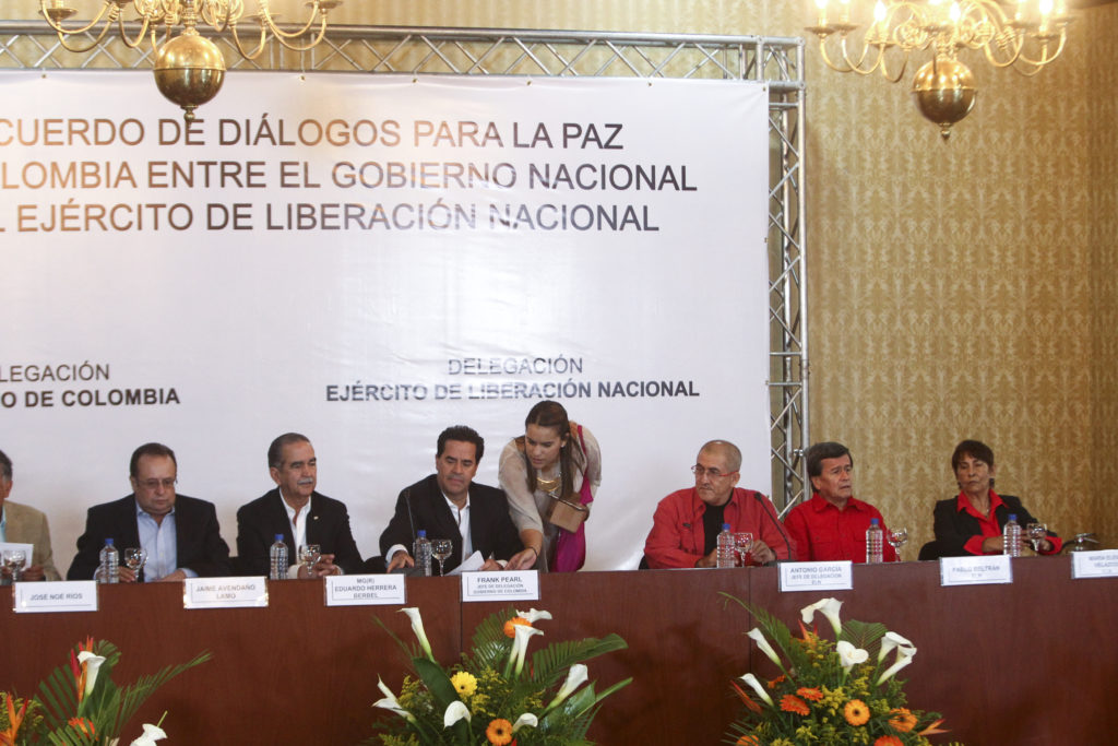 Image of Representatives from Colombian Government and the ELN meet in Caracas, Venezuela, to start peace conversations.