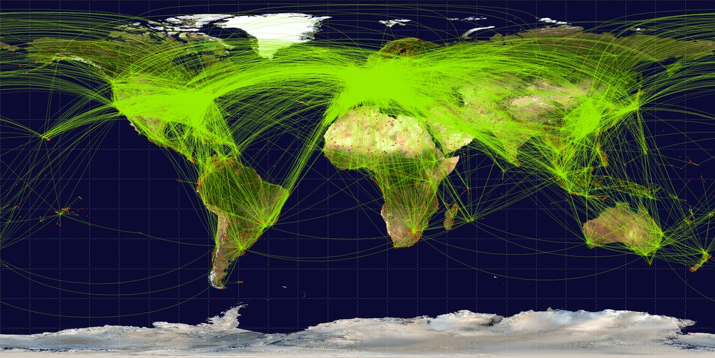 World-airline-routemap Jpatokal (Wikipedia Commons)