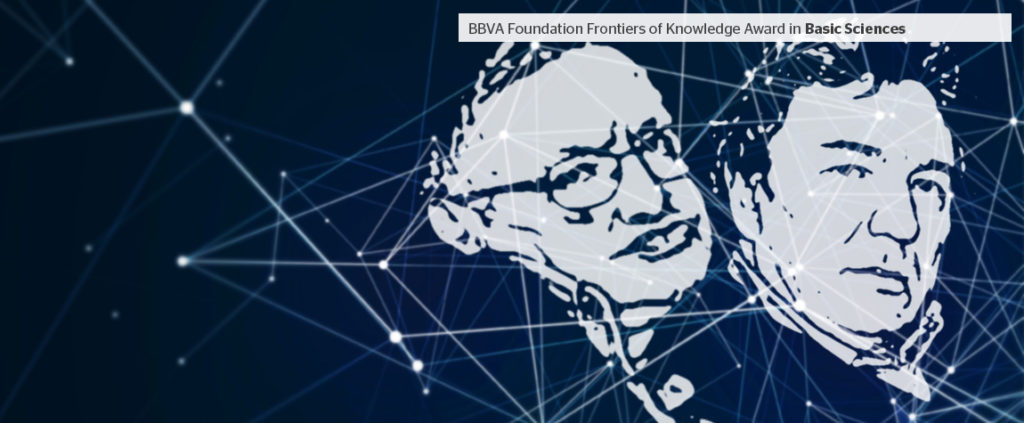 Picture of Hawking and Mukhanov, BBVA Foundation Frontiers of Knowledge Award