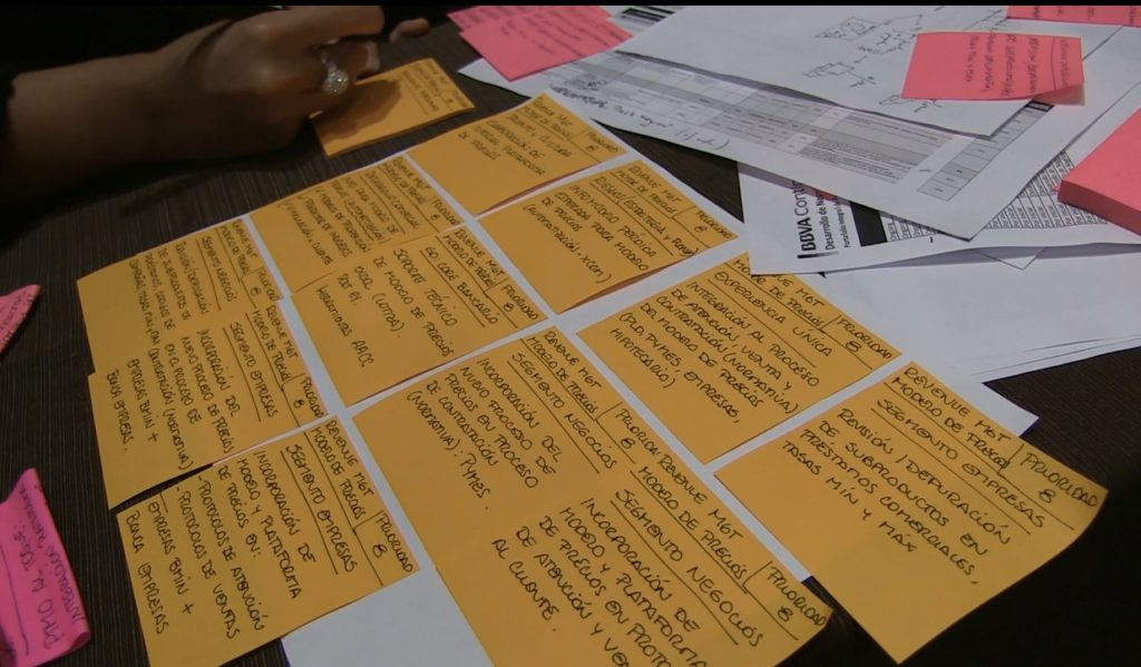 Image of Detail of orange post its during BBVA Continental quarterly planning scrum agile