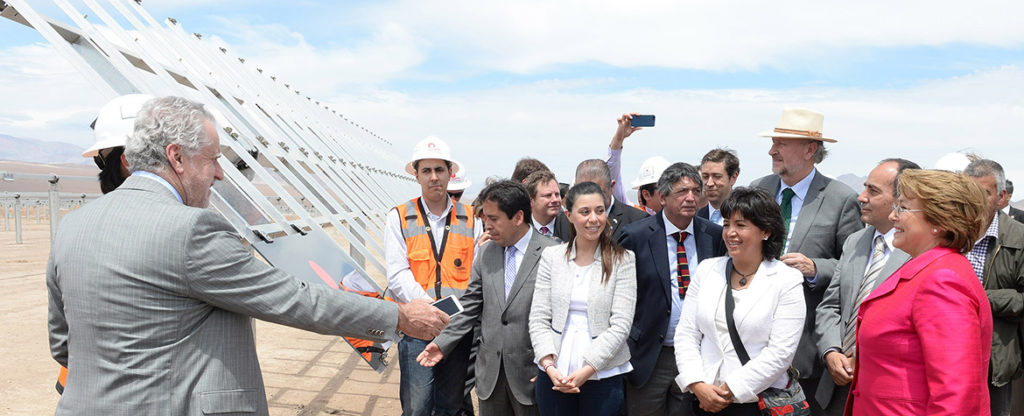 Picture of President Bachelet First Solar Company energy renewable sustainability Chile BBVA