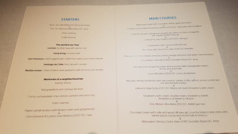 menu served in London during the BBVA Roca Tour 16