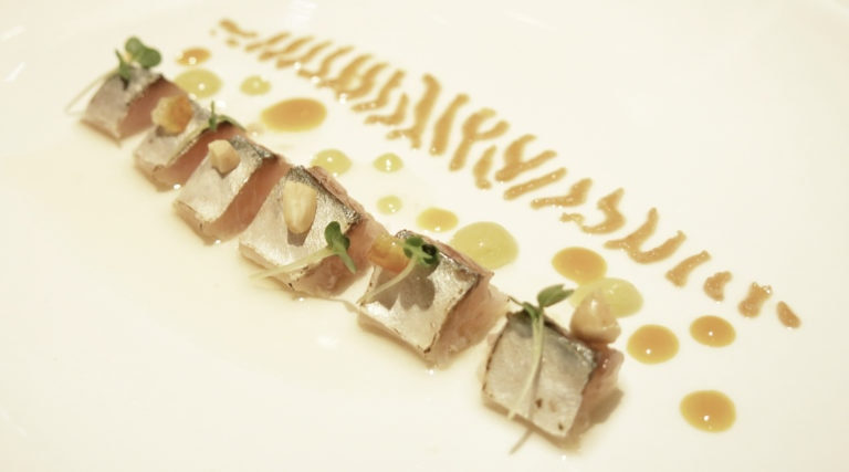 Picture of Mackerel with amontillado from the menu served in London during the BBVA Roca Tour 16