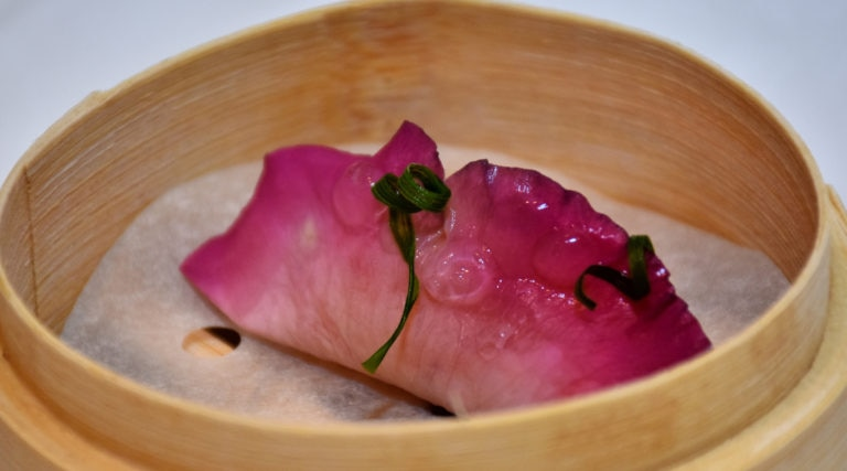 Picture of roses and Shrimp dumpling Hong Kong menu BBVA Celler Tour 2016