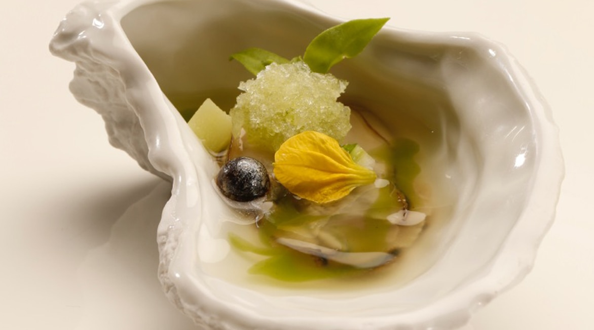 Picture of Black pearl oyster from the menu served in London during the BBVA Roca Tour 16