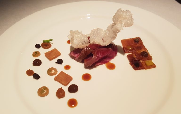 Picture of Macallan Whisky tenderloin from the menu served in London during the BBVA Roca Tour 16