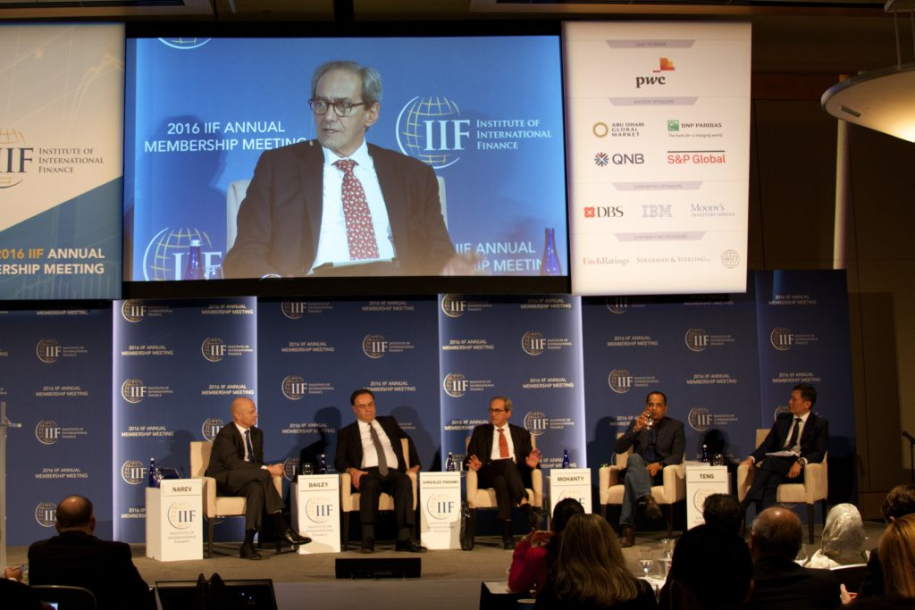 Ian Narev, Chief Executive Officer of Commonwealth Bank; Andrew Bailey, CEO of the U.K.'s Financial Conduct Authority;José Manuel González-Páramo, BBVA's Executive Director; Sopnendu Mohanty, Chief FinTech Officer of the Monetary Authority of Singapore (MAS);and Richard Teng, CEO of the Financial Services Regulatory Authority, Abu Dhabi Global Market.