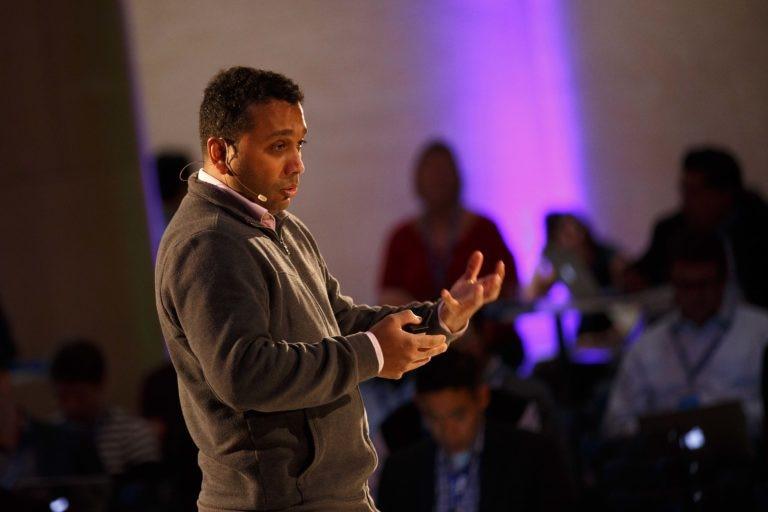 A photo of BBVA's Head of Open APIs Shamir Karkal keynoting Fintech University on Monday, Oct. 18.