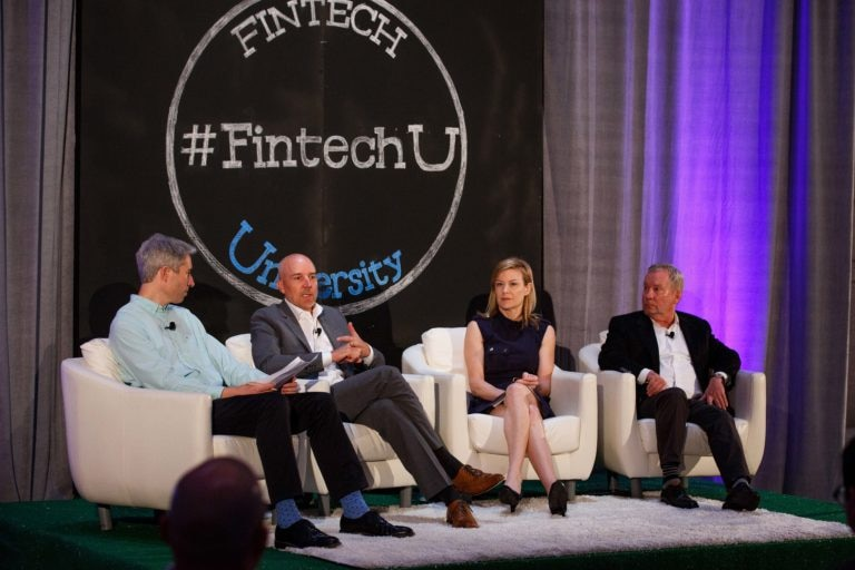 A photo of the Regulation and Banking Relationships panel at Fintech University.