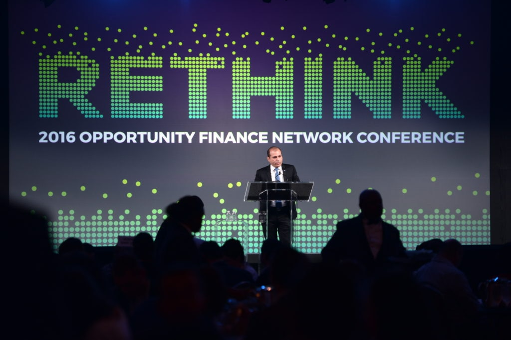 A photo of BBVA Compass Director of Corporate Responsibility and Reputation Rey Ocañas speaking at the 2016 Opportunity Finance Conference on Oct. 25, 2016.