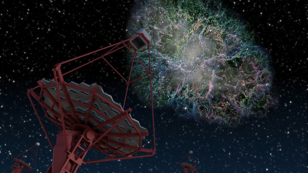 Image. Artistical recreation of a MAGIC Telescope detecting gamma rays. Conference at BBVA Foundation