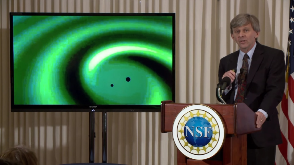 Image of David Reitze, executive director of LIGO, speaks during the announcement that scientists have observed gravitational waves