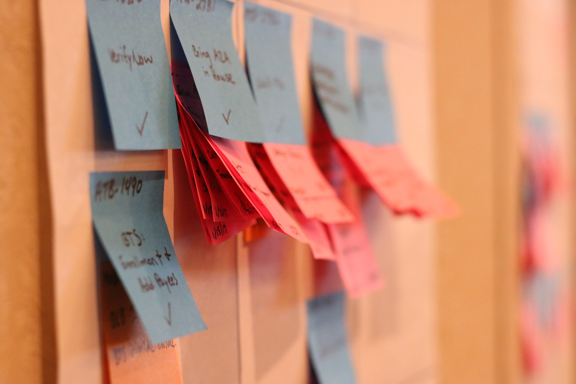 Color coded sticky notes denote projects at the BBVA Compass Quarterly Planning meeting.