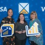 BBVA Compass' Melissa Smith (middle) and Wanda Birge (right) pose with Madolyn Street, Visa DSP Account Manager, at the 2016 Visa DPS Client Achievement award ceremony.