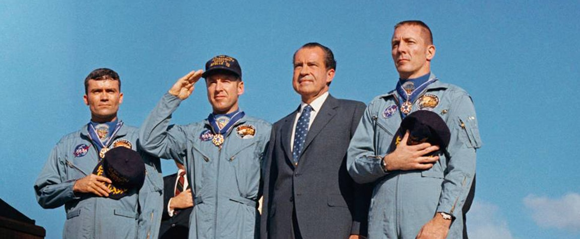 Apollo 13 John Swigert, Fred Haise and James Lovell with Nixon after the mission