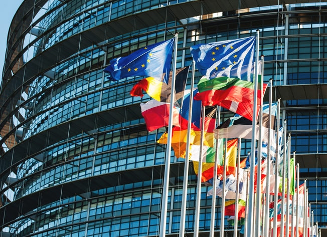 EU flags in front of Parliament BBVA resource