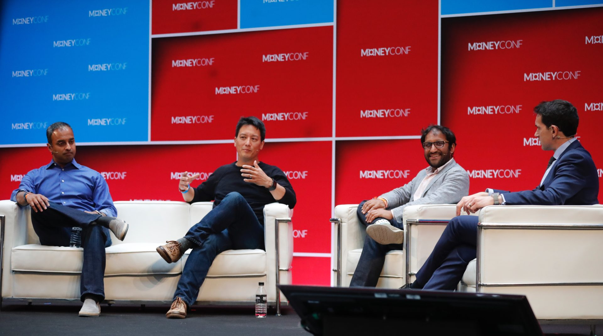 A panel moment about fintech in Europe. From left to right, Ravi Viswanathan, General Partner of NEA; Jay Reinemann of Propel; Sheel Mohnot, partner of 500 Startups and Francesco Guerrera, Dow Jones and the moderator of the debate.