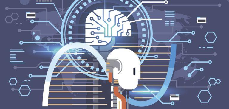 Abstract Brain Neurons Activity, Medicine Thinking Intelligence Concept Banner Vector Illustration