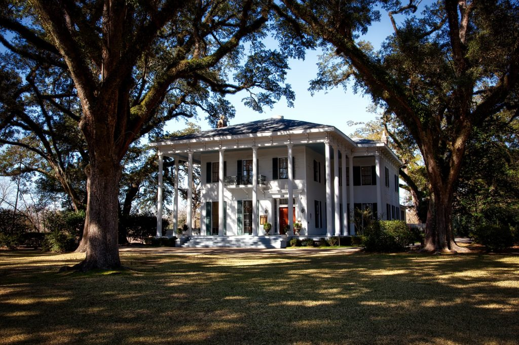 A photo of the entrance to the Bragg-Mitchell mansion in Mobile, Ala.