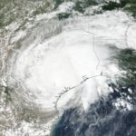 A photo of Hurricane Harvey as seen from space in a photo from NASA.