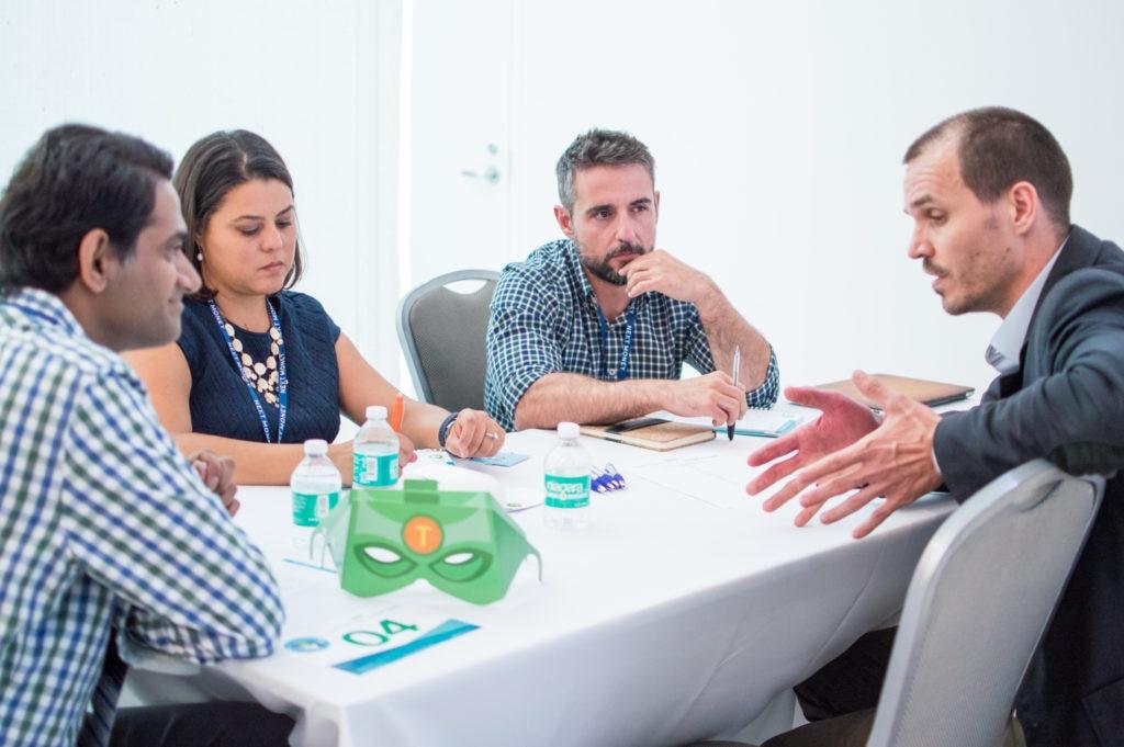 BBVA Open Talent Digital Trends finalists talk to BBVA executives during 'Speed Dating'