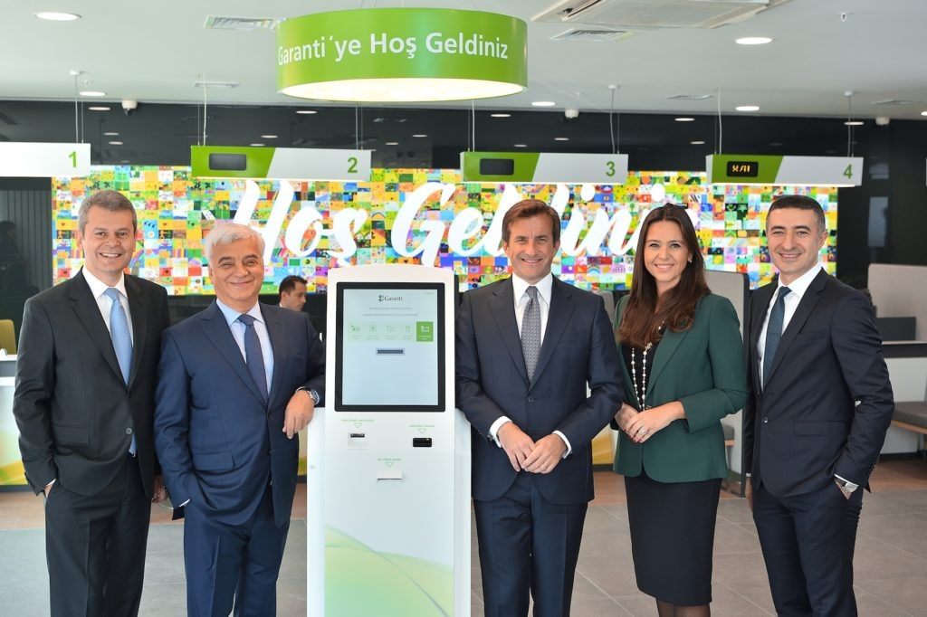 Image of Part of Garanti's team at the launch of the new offices. From left to right, Cemal Onaran (EVP, SME Banking), Hüsnü Erel (EVP,Techonology and Operations), Fuat Erbil (CEO), Didem Dinçer Başer (EVP, Digital Banking), Mahmut Akten (EVP, Retail Banking)